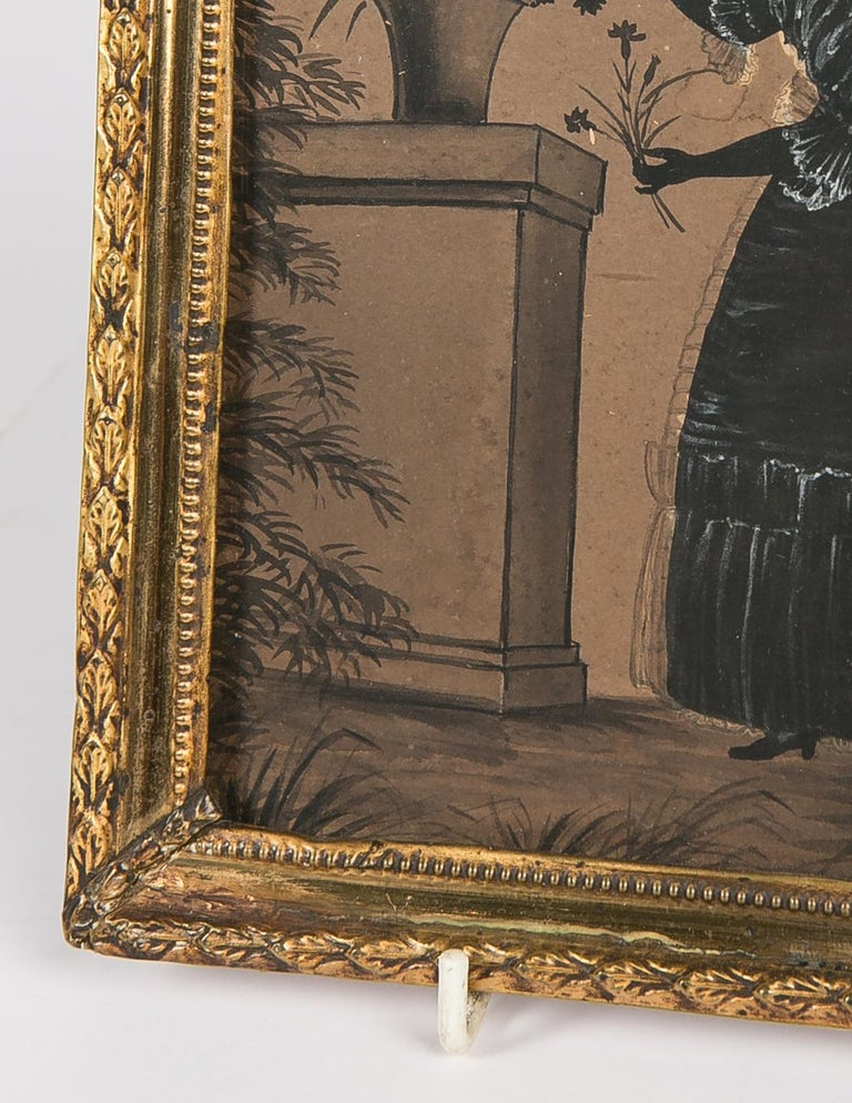 English Black Ink and Gouache Drawing of a Young Lady Made in England circa 1830 For Sale
