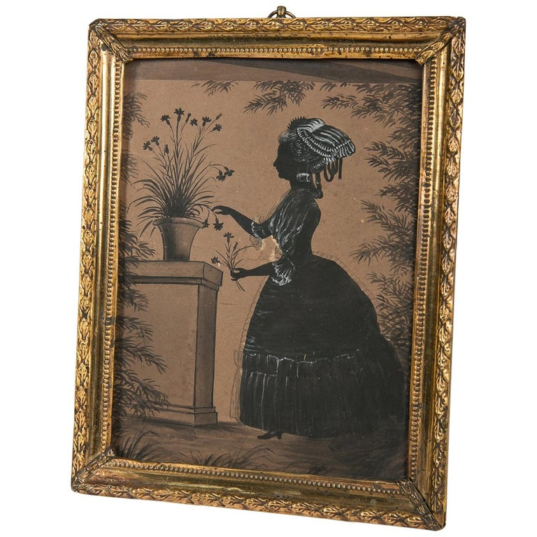 Black Ink and Gouache Drawing of a Young Lady Made in England circa 1830 For Sale