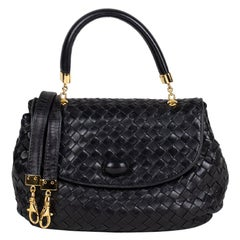 Black Intrecciato Nappa Leather Bottega Veneta Top Crossbody Bag