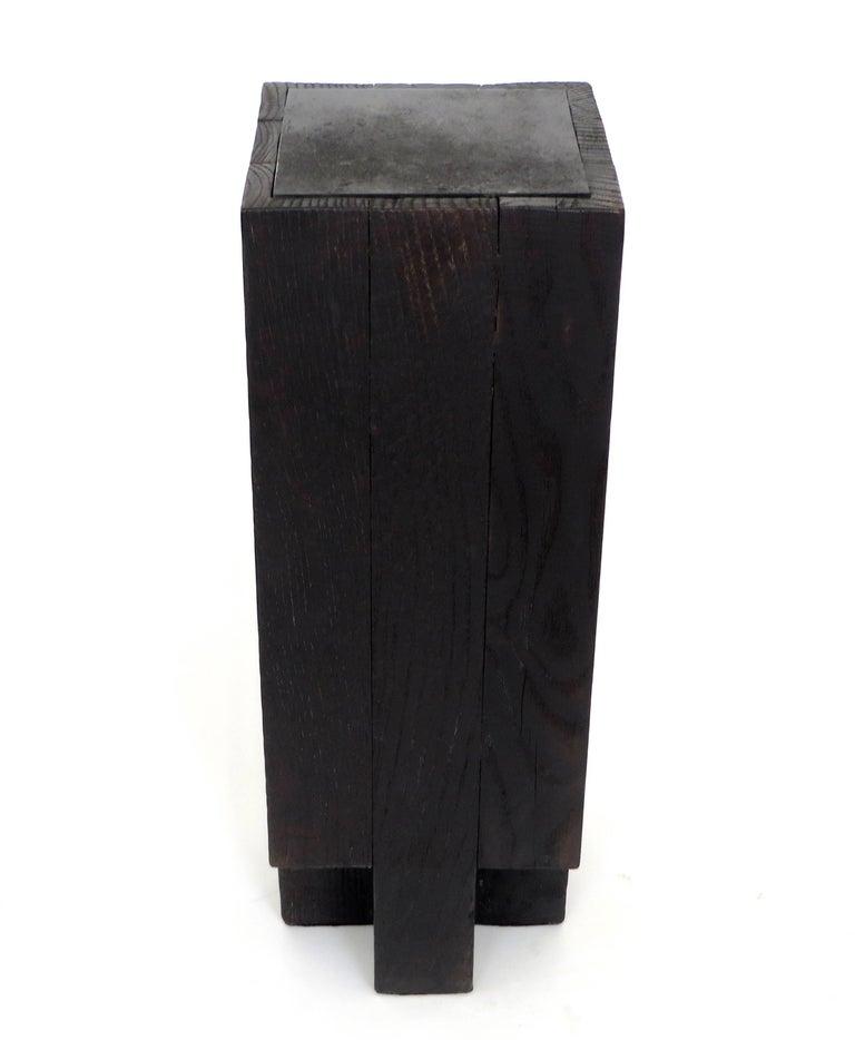 Minimalist Arno Declercq Black Iroko Wood and Burned Steel Cross Stool or Side Table  For Sale