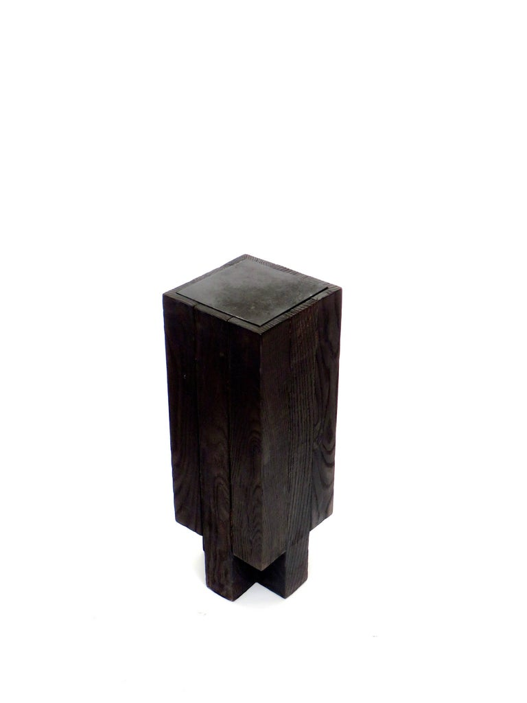 Arno Declercq Black Iroko Wood and Burned Steel Cross Stool or Side Table  In Excellent Condition For Sale In Chicago, IL