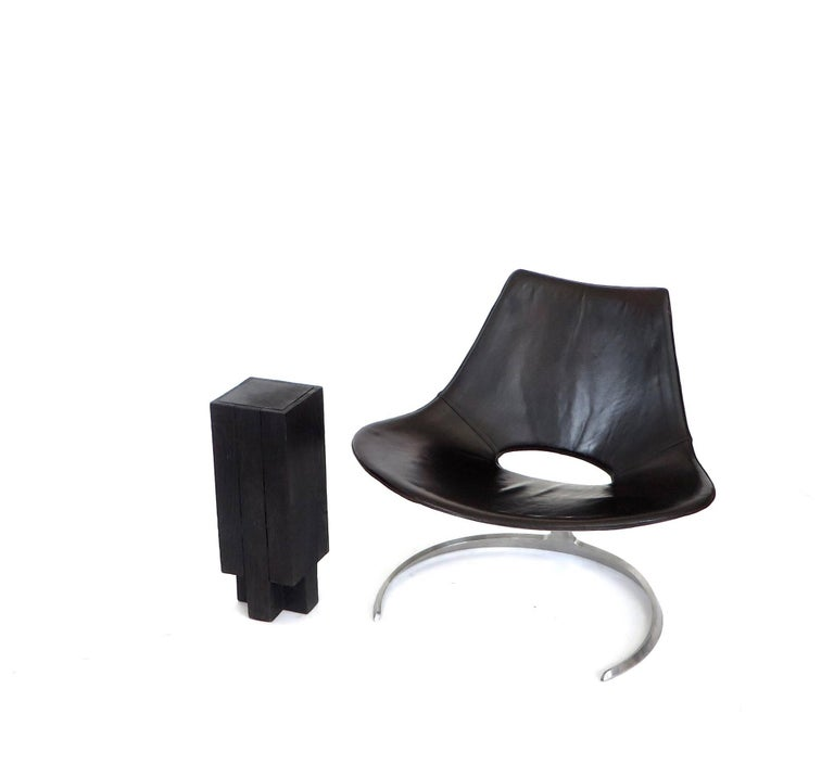 Contemporary Arno Declercq Black Iroko Wood and Burned Steel Cross Stool or Side Table  For Sale