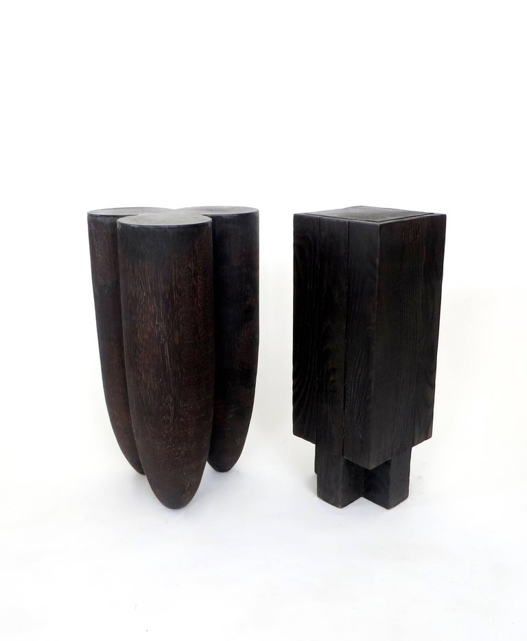Arno Declercq Black Iroko Wood and Burned Steel Cross Stool or Side Table  For Sale 1