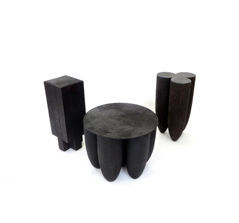 Arno Declercq Black Iroko Wood and Burned Steel Cross Stool or Side Table  For Sale 2