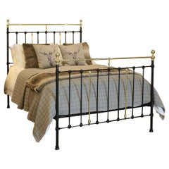 Black Iron and Brass Antique Bed, MK180