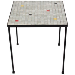 Black Iron and Gray Terrazzo Tile Top Occasional Table, 1950s