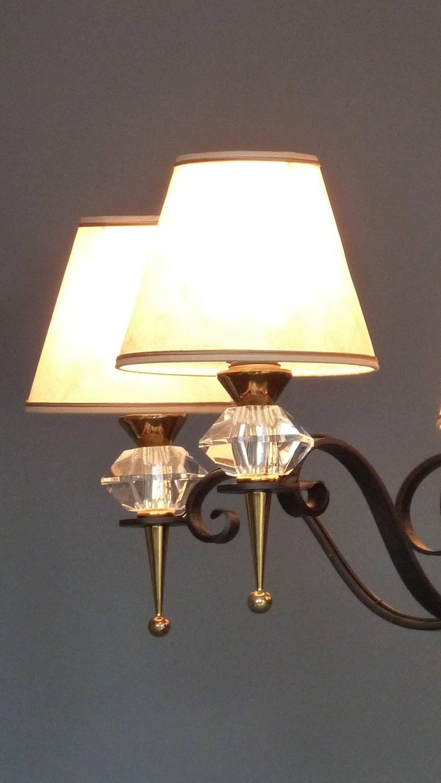 Black Iron Gilt Brass Sevres Crystal Glass Chandelier