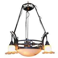 Black Iron Tole 7-Light Chandelier with Alabaster and Acid Patina