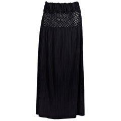 Issey Miyake Black Plissé Fringe-Trimmed Midi Skirt