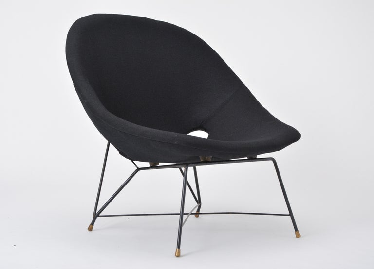 Black Italian Cosmos Lounge Chair by Augusto Bozzi for Saporiti For Sale 4