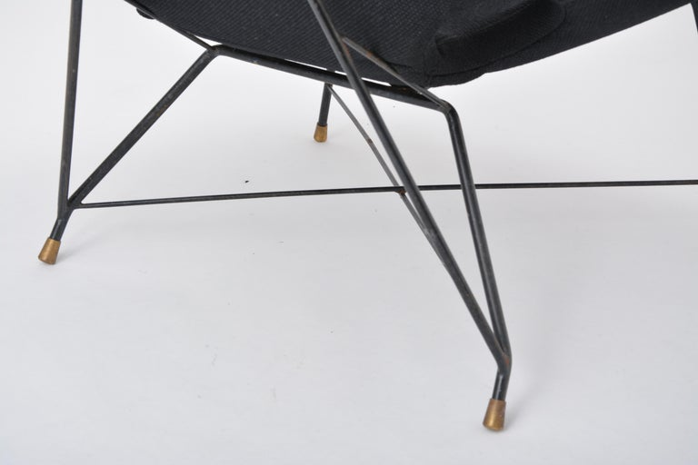 Metal Black Italian Cosmos Lounge Chair by Augusto Bozzi for Saporiti For Sale