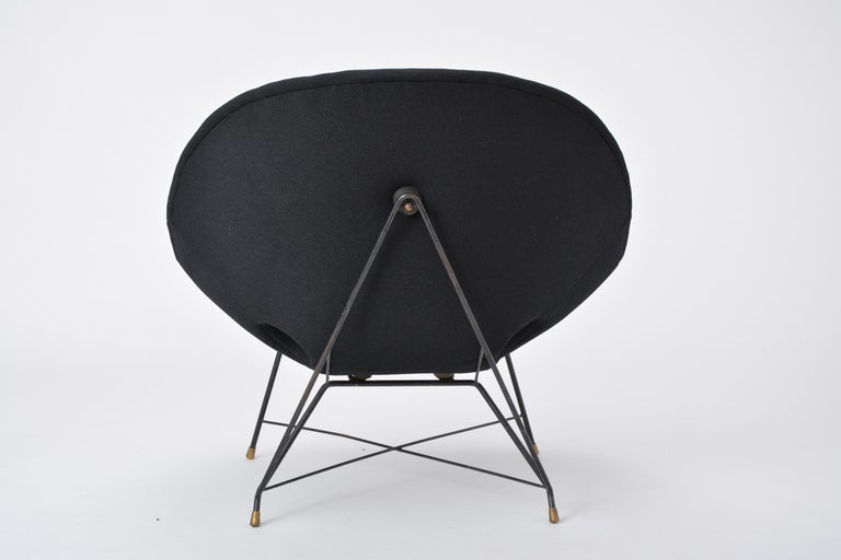 Black Italian Cosmos Lounge Chair by Augusto Bozzi for Saporiti For Sale 1