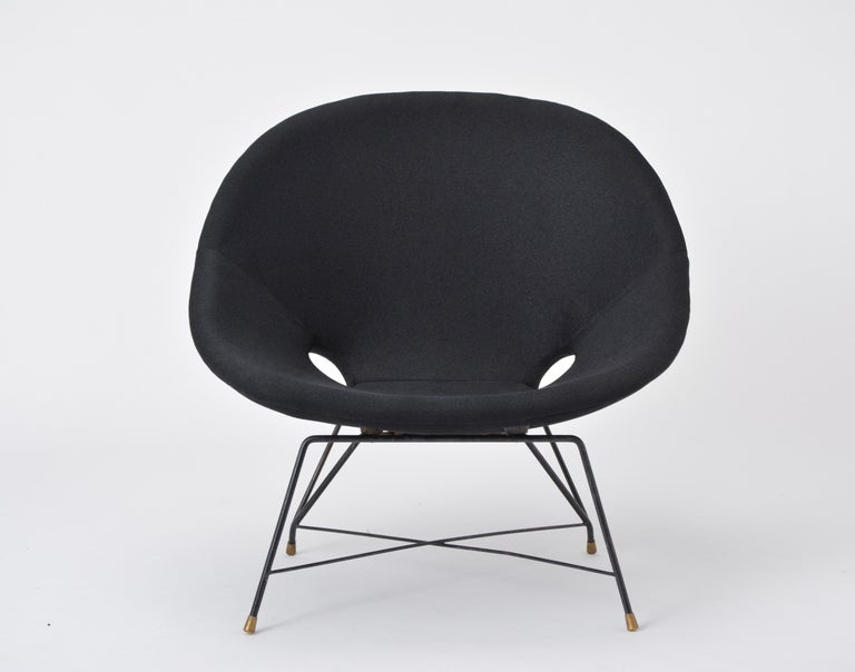 Black Italian Cosmos Lounge Chair by Augusto Bozzi for Saporiti For Sale 2