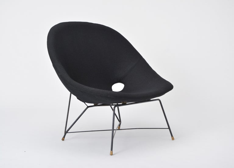 Black Italian Cosmos Lounge Chair by Augusto Bozzi for Saporiti For Sale 3