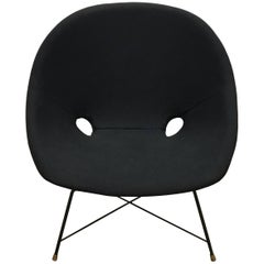 Black Italian Mid-Century Modern Cosmos chair by Augusto Bozzi for Saporiti