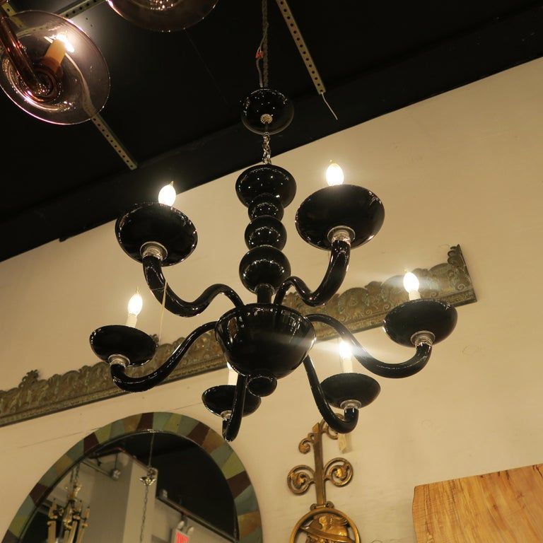 Black Italian Mid-Century Modern Murano Blown Glass Six-Arm Chandelier In Good Condition For Sale In New York, NY