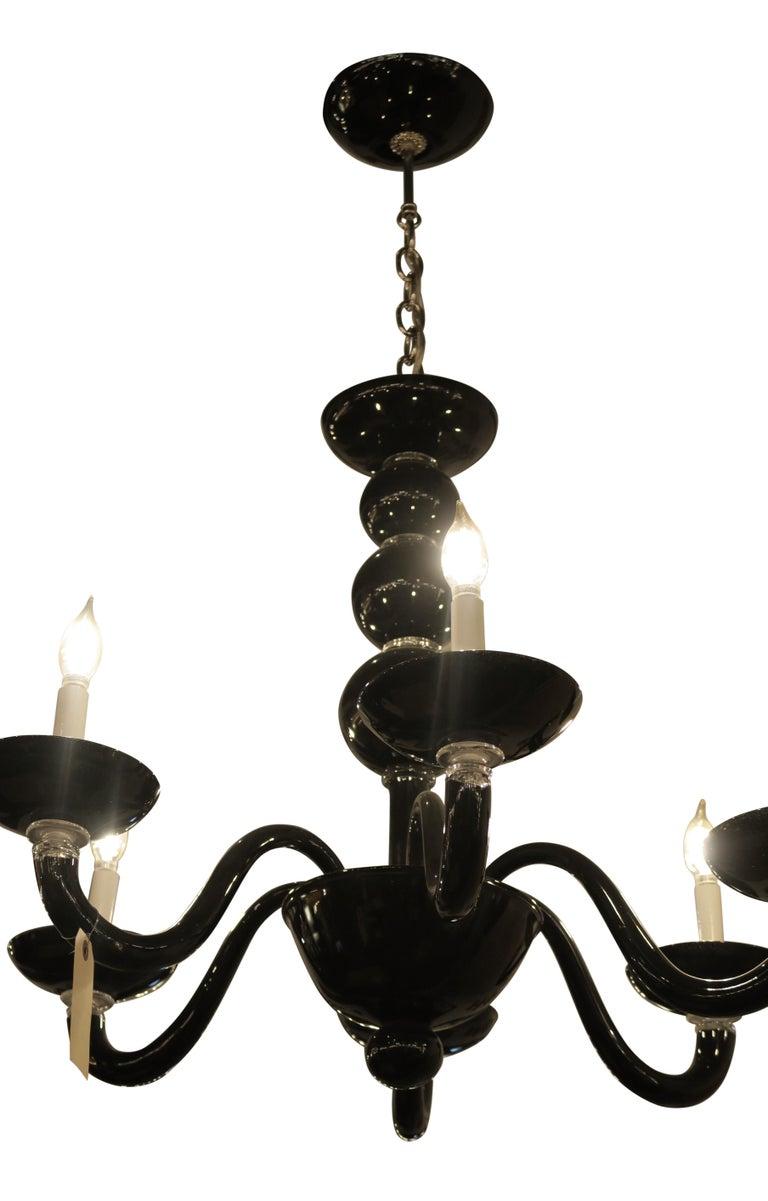 Contemporary Black Italian Mid-Century Modern Murano Blown Glass Six-Arm Chandelier For Sale