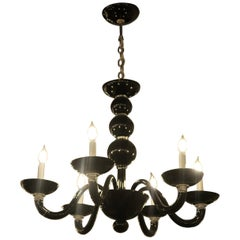 Black Italian Mid-Century Modern Murano Blown Glass Six-Arm Chandelier