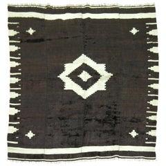 Black Ivory Color Vintage Mohair Navajo Style Rug