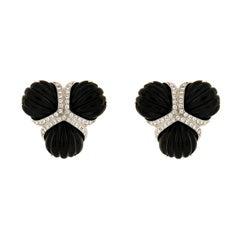 Black Jade and Diamonds Fan Earrings