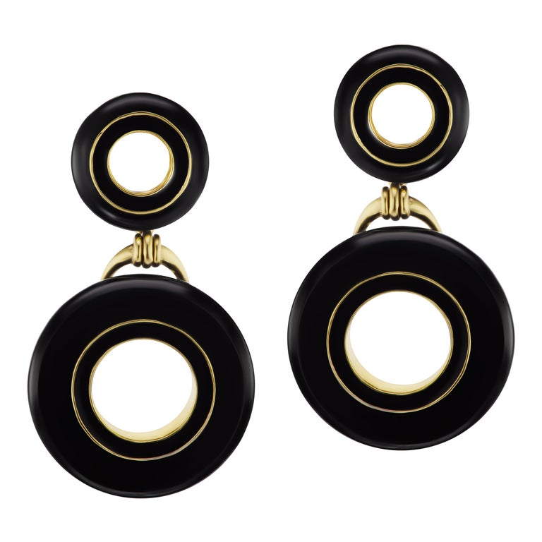 Black Jade and Enamel Earrings in 18 Karat Yellow Gold For Sale