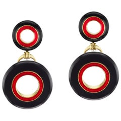 Black Jade and Red Enamel Earrings in 18 Karat Yellow Gold