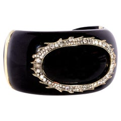 Sylva & Cie Black Jade Cuff Bracelet with Diamonds