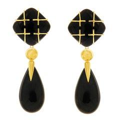 Black Jade Cushion Cabochon Drop Earrings