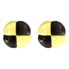 Valentin Magro Black Jade Yellow Gold Corner Quartet Earrings