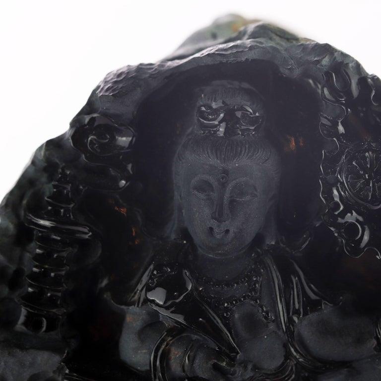 Black Jade Guanyin Bodhisattva Female Buddha Asian Art Carved Statue Sculpture For Sale 8