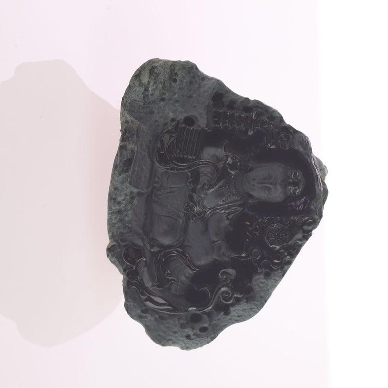 Chinese Black Jade Guanyin Bodhisattva Female Buddha Asian Art Carved Statue Sculpture For Sale