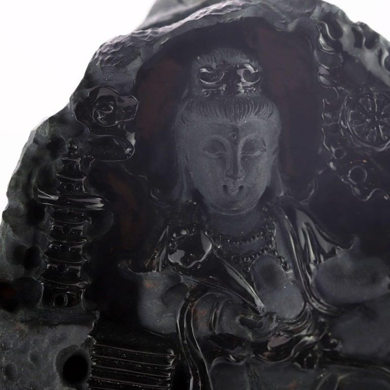 20th Century Black Jade Guanyin Bodhisattva Female Buddha Asian Art Carved Statue Sculpture For Sale