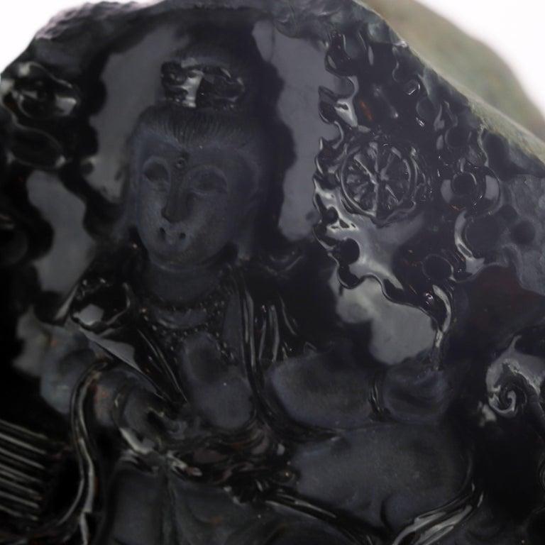 Black Jade Guanyin Bodhisattva Female Buddha Asian Art Carved Statue Sculpture For Sale 1