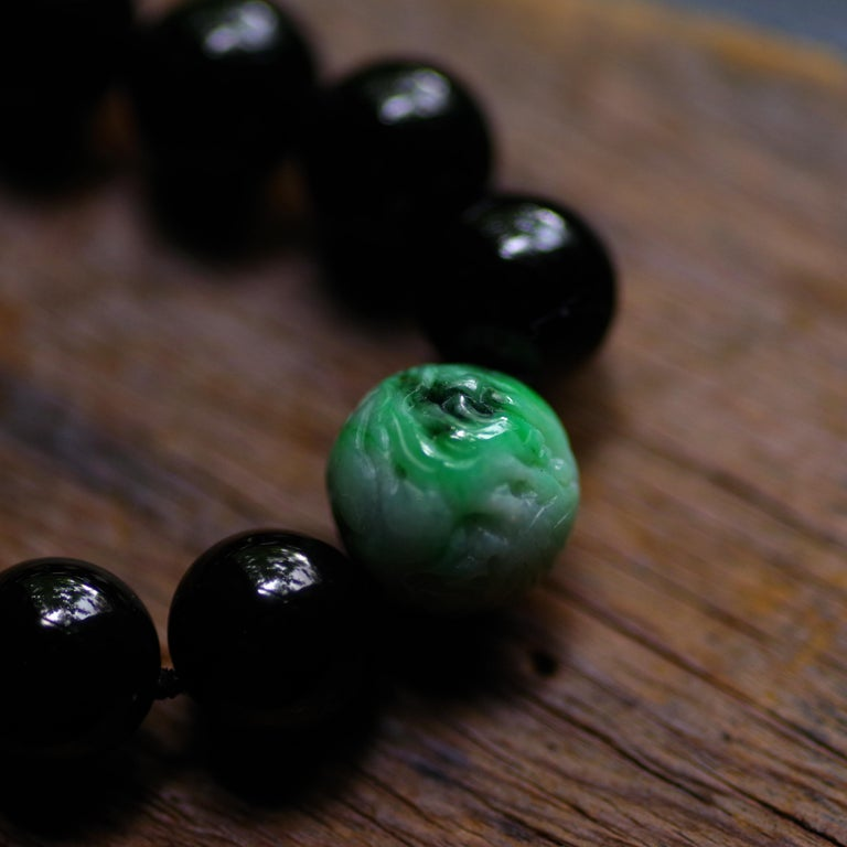 Black Jade Necklace by Gump's with Moss on Snow Focal Point Bead For Sale 5