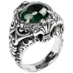 Black Jade Ring in Handmade Baroque Silver Setting
