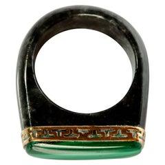 Black Jade Saddle Ring with Malachite