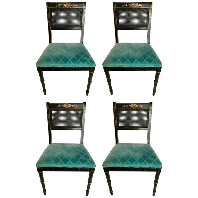 Black Japanned Gold Chinoiserie Cane Chairs, Set of Four For Sale