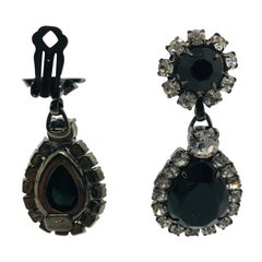 "Black Jet and Clear Austrian Crystal ""Perfect Drop"" Pendant Drop Earrings"