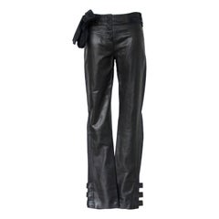Black John Galliano Bondage Buckle Silk Lambskin Leather Pants