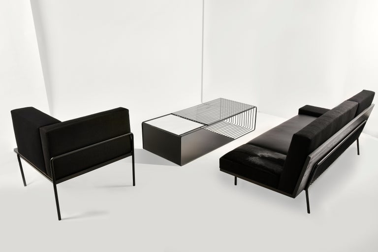 American Black Kaleidoscope, Minimalist Low Coffee Table with Black Metal and Glass For Sale