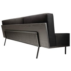 Black Kaleidoscope, Monochromatic Modern Long Sofa with 7 Black Materials