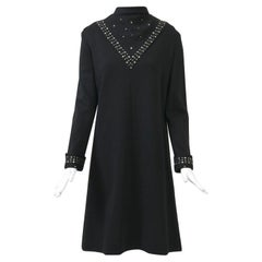 Black Knit Dress with Rhinestone Trim