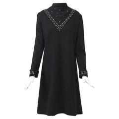 Black Knit Dress with Rhinestone Trim