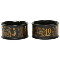 Numbered Napkin Rings-Black Lacquer on Papier Mâché