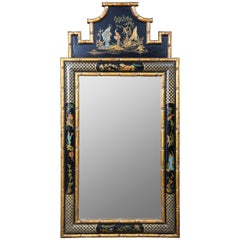 Black Lacquer and Faux Bamboo Chinoiserie Pagoda Mirror Hollywood Regency