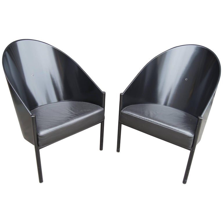 black lacquer and leather pratfall chair by philippe starck for sale at 1stdibs. Black Bedroom Furniture Sets. Home Design Ideas