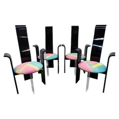 Mid Century Black Lacquer High Back Dining Chairs with lucite legs 1970s set 4