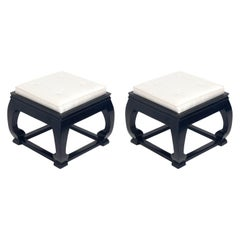 Black Lacquer and Silk Chinoiserie Stools