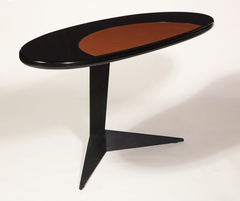 Mid-Century Modern Black Lacquer and Steel Oval Desk Console Entry Table, France, circa 1960s For Sale
