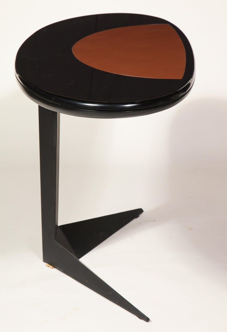 Italian Black Lacquer and Steel Oval Desk Console Entry Table, France, circa 1960s For Sale